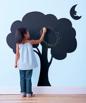 Cute. the tree is like a chalk board.