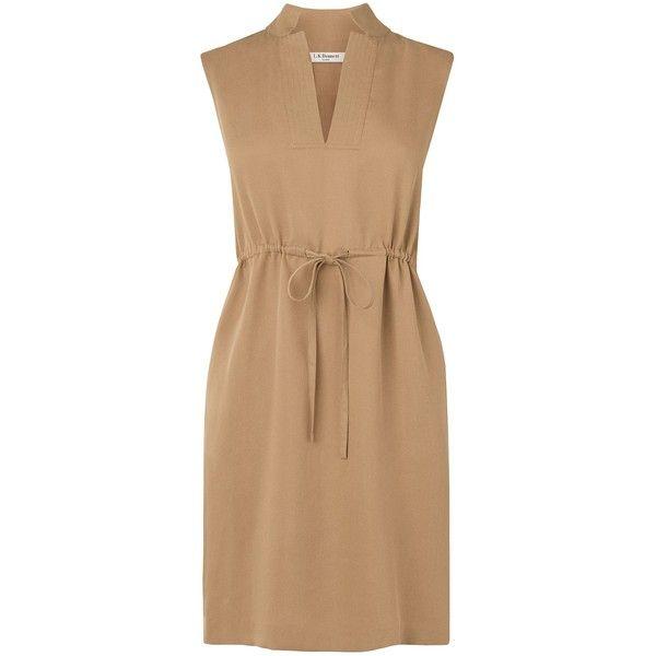 L.K. Bennett Ernie dress (£70) ❤ liked on Polyvore featuring dresses, brown, brown dress, beige dress, tencel dress and l k bennett dresses