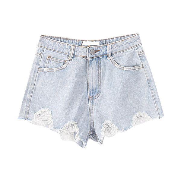 Chicnova Fashion Ripped Rolled Rim Denim Shorts ($29) found on Polyvore featuring shorts, chicnova, bas, torn shorts, distressed shorts, jean shorts, distressed denim shorts and ripped shorts