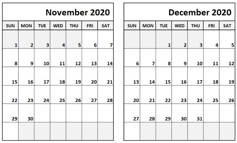 November December 2020 Calendar Calendar Printables Calendar Printable Wall Calendar