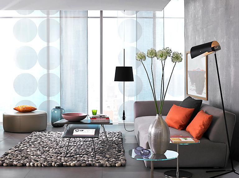 Fensterdekoration fürs Wohnzimmer Perfekt für das Stadt-Loft Stoff - wohnzimmer orange beige