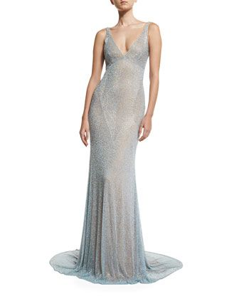 Sleeveless+Beaded+Cowl-Back+Gown,+Pale+Blue+by+Naeem+Khan+at+Neiman+Marcus.
