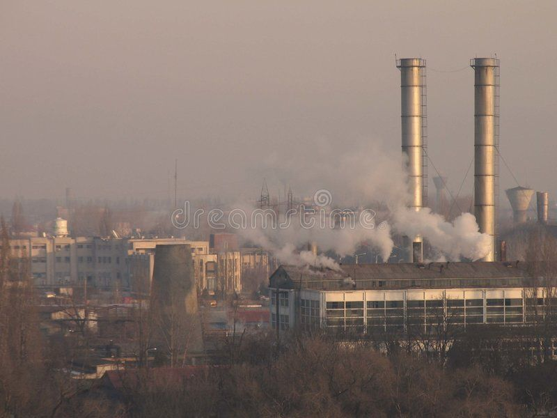 Industry Manufacture economy capital growth morning fume gas fog steam