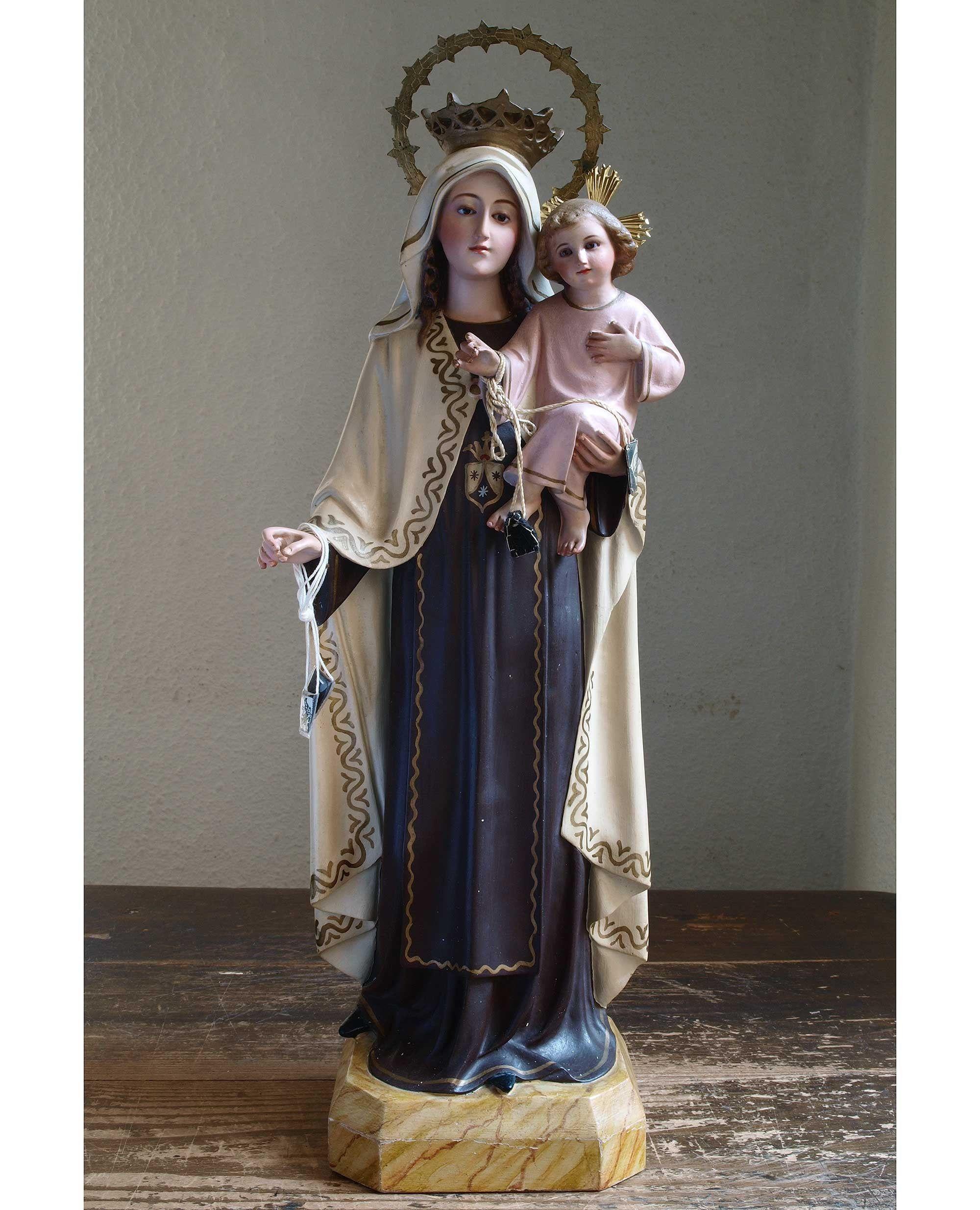 茶色のスカプラリオ カルメル山の聖母子像 高49.5cm グラスアイ 聖母 ...