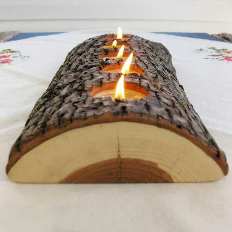 DIY Log Tealight Holder Woods, Ideas para and Decoration