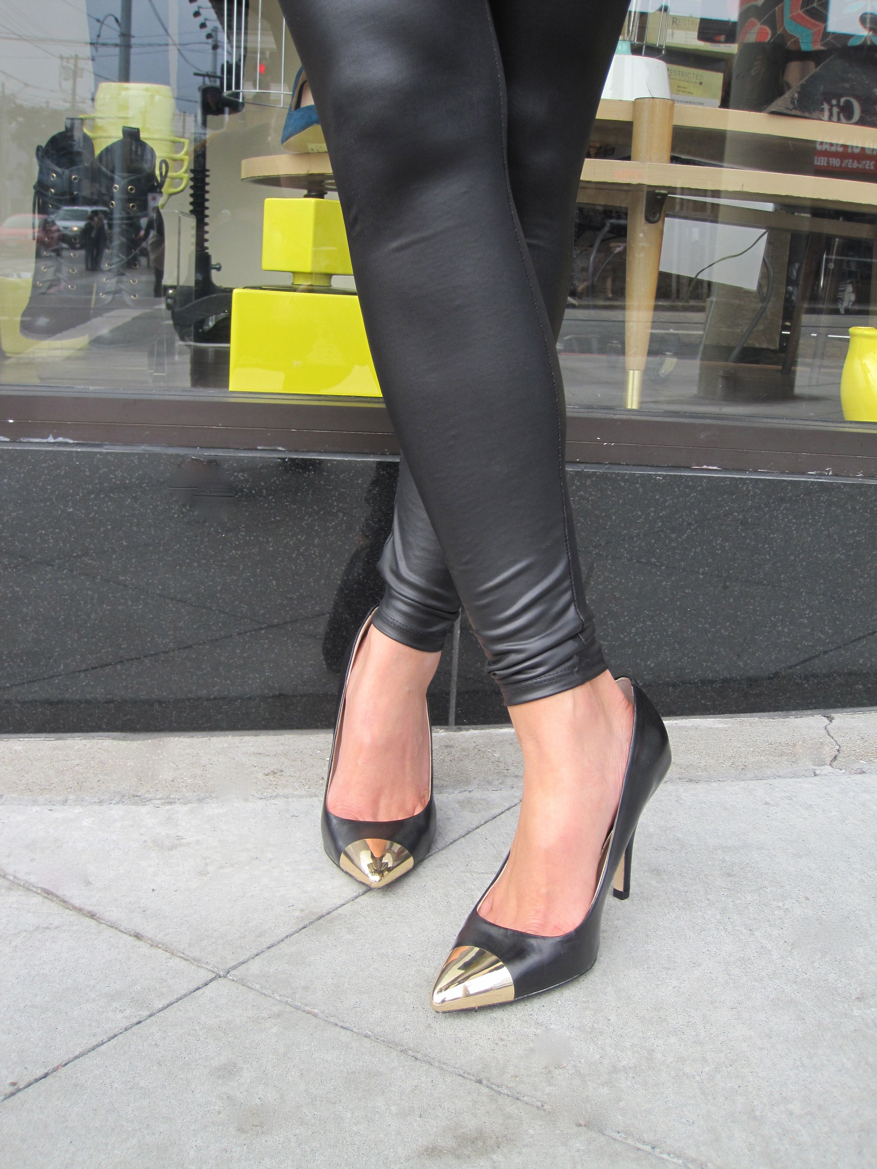 A seductive twist on a classy pointed toe pump w/ a polished metal toe cap. By Chinese Laundry $99.