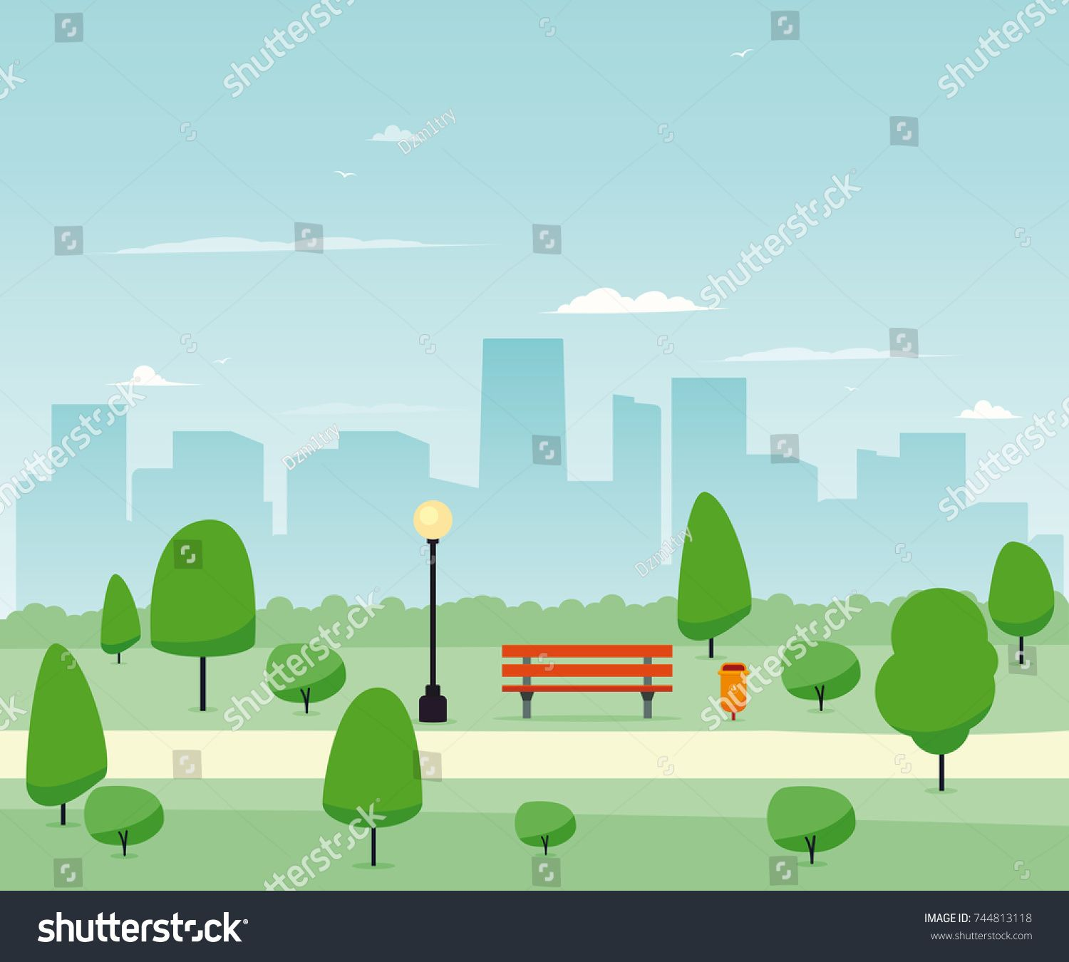 City Park With Wooden Bench Vector Illustration Sponsored Affiliate Wooden Park City Illustration City Illustration Clipart Images Park City