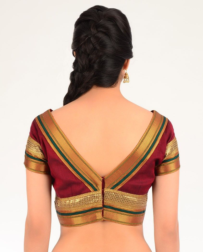 772b7834b67868 Maroon Red Blouse with Brocade Border - Exclusively In | blouse ...