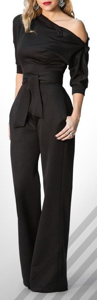 Black Slanted One Shoulder Wide Leg Formal Jumpsuit #jumpsuit #jumpsuits #fashion #style #love #shopping #pants #black
