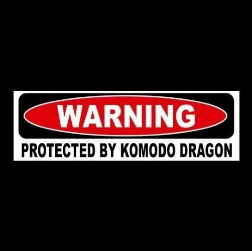 Funny protected by komodo dragon window decal bumper sticker sign