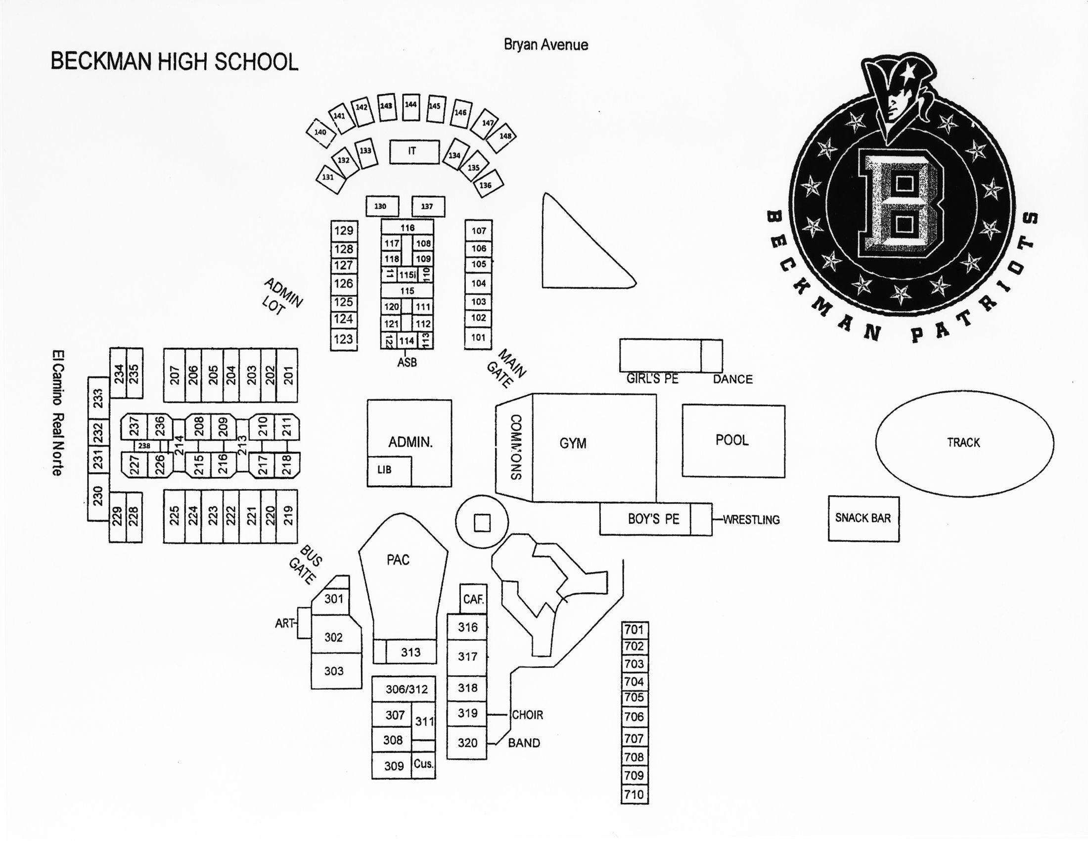 Beckman High School Map