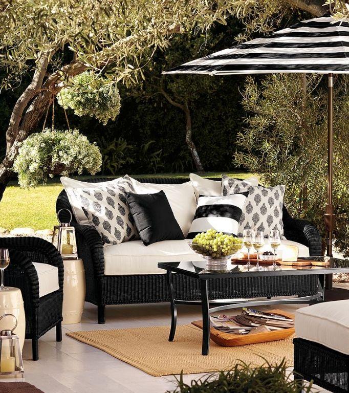White Patio Umbrella Aizi Home Black And White Striped Patio