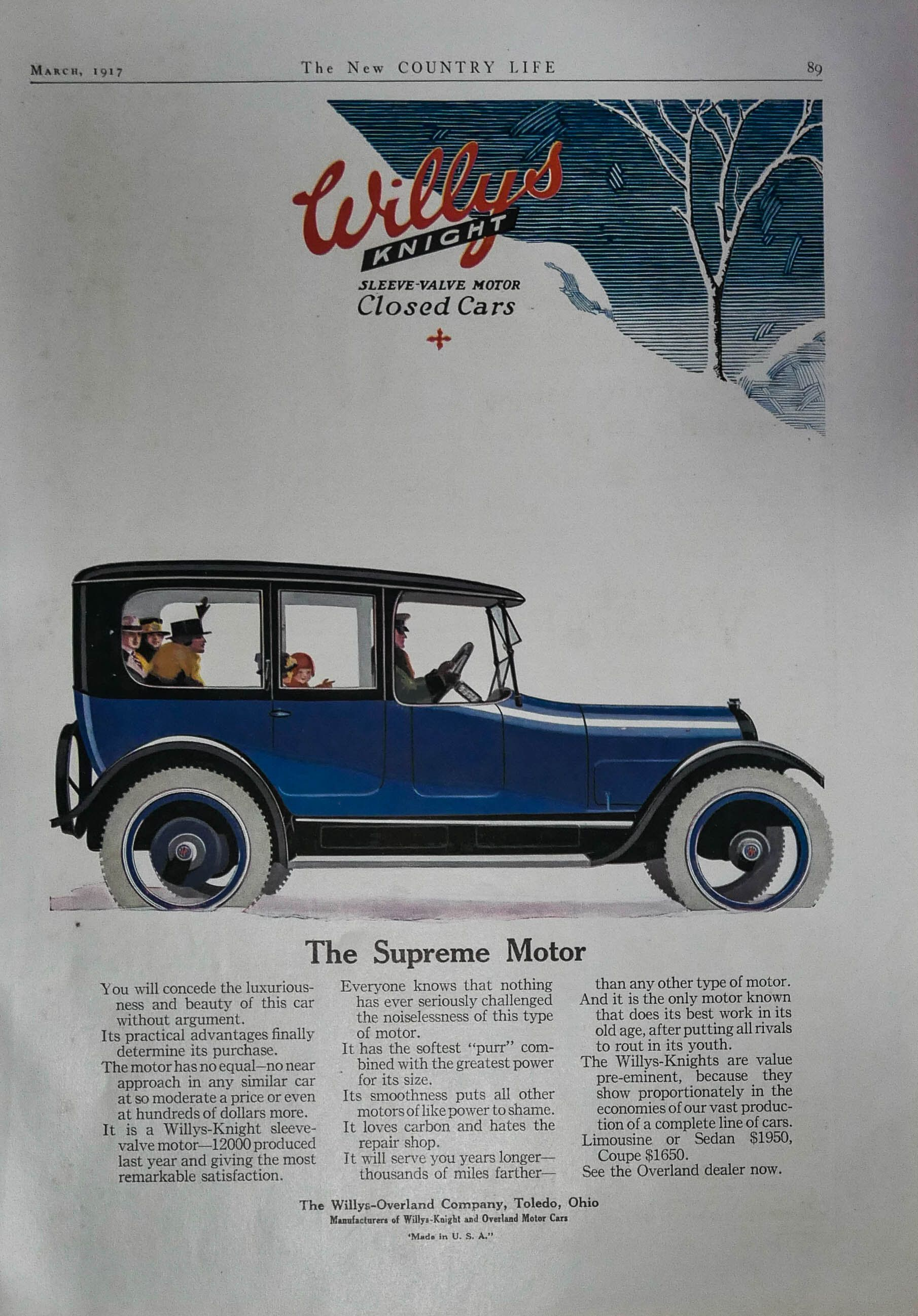 1917 Willys Knight Supreme Motor Car Ad Vintage Automobile By Willys Overland Co Toledo Oh Gorgeous Blue Auto With Chauffeur And Family In 2020 Car Ads Vintage Advertisements Motor Car