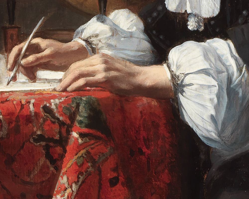 File:Woman writing a letter, with her maid, by Johannes Vermeer.jpg