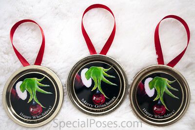 Details about The Grinch Christmas Ornaments Lot of 3 2019 Tree Decoration Mason Jar lids #kerstboomversieringen2019