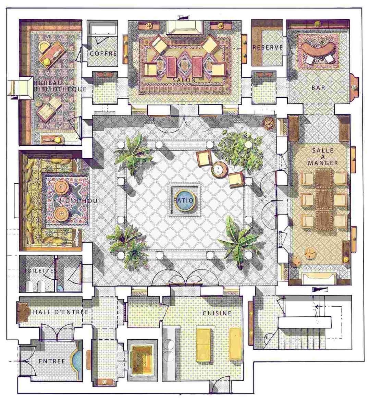 ديكور وأكثر On Twitter In 2021 Courtyard House Plans Riad Floor Plan Moroccan Riad