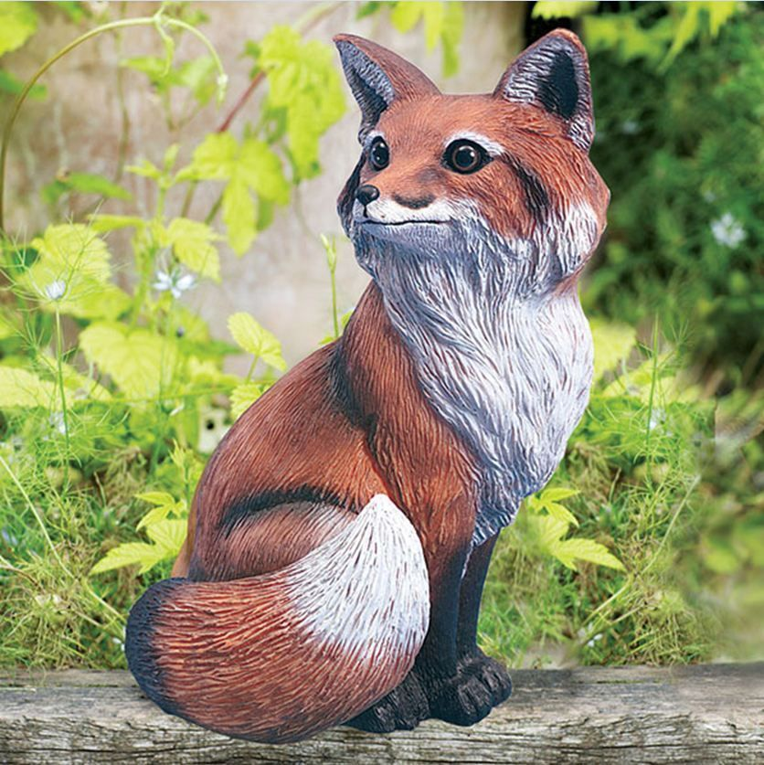 Captivating Red Fox Garden Statue Realistic Outdoor Lawn Yard Decor