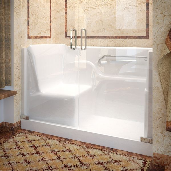Mountain Home 30x60 Right Drain Seated Shower With Swinging Glass Doors    Overstock™ Shopping