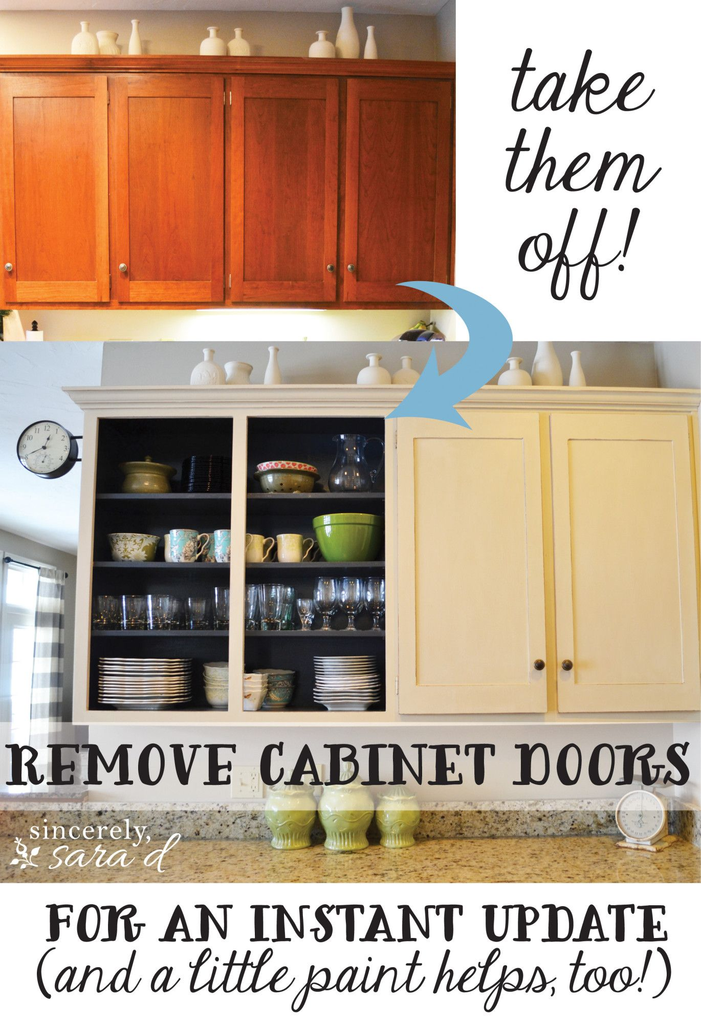 Remove Cabinet Doors - Instant Kitchen Update | Kitchen cabinet ...