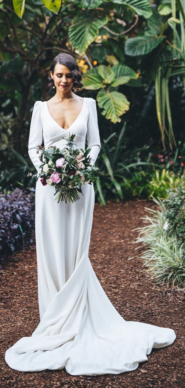 White Satin Long Sleeve V Neck With Train Simple Wedding Dresses