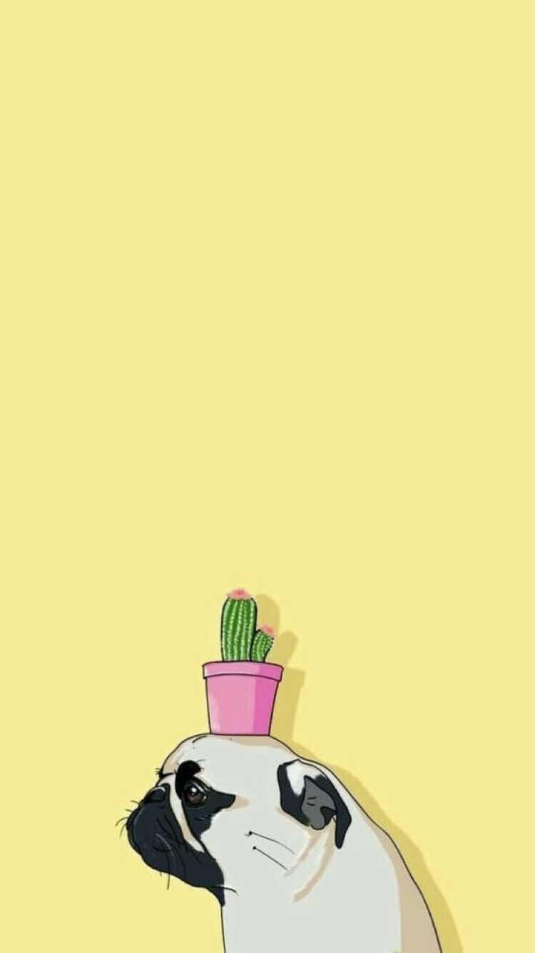Iphone And Android Wallpapers Pug Plant Wallpaper For Iphone And Android Personalized Wallpaper Wallpaper Iphone Cute Animal Wallpaper