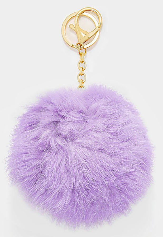 Fluffy Ball Bag Clip Key Ring Lilac Light Purple