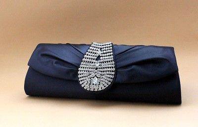 Royal look Navy Blue Satin Rhinestone Evening/Wedding Formal Clutch Purse Bag | eBay