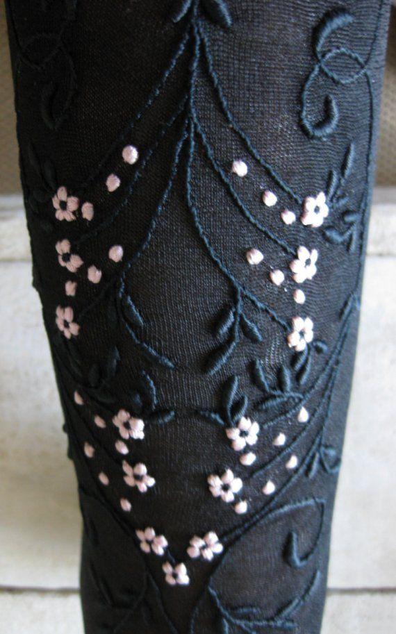 Edwardian Black Embroidered Silk Stockings