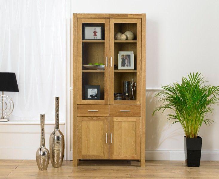 Verona Solid Oak Display Cabinet.
