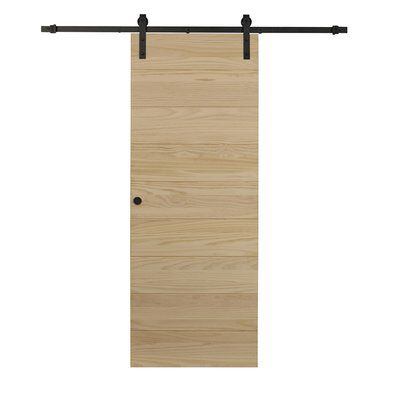 Flush Wood Unfinished Barn Door with Installation Hardware ...
