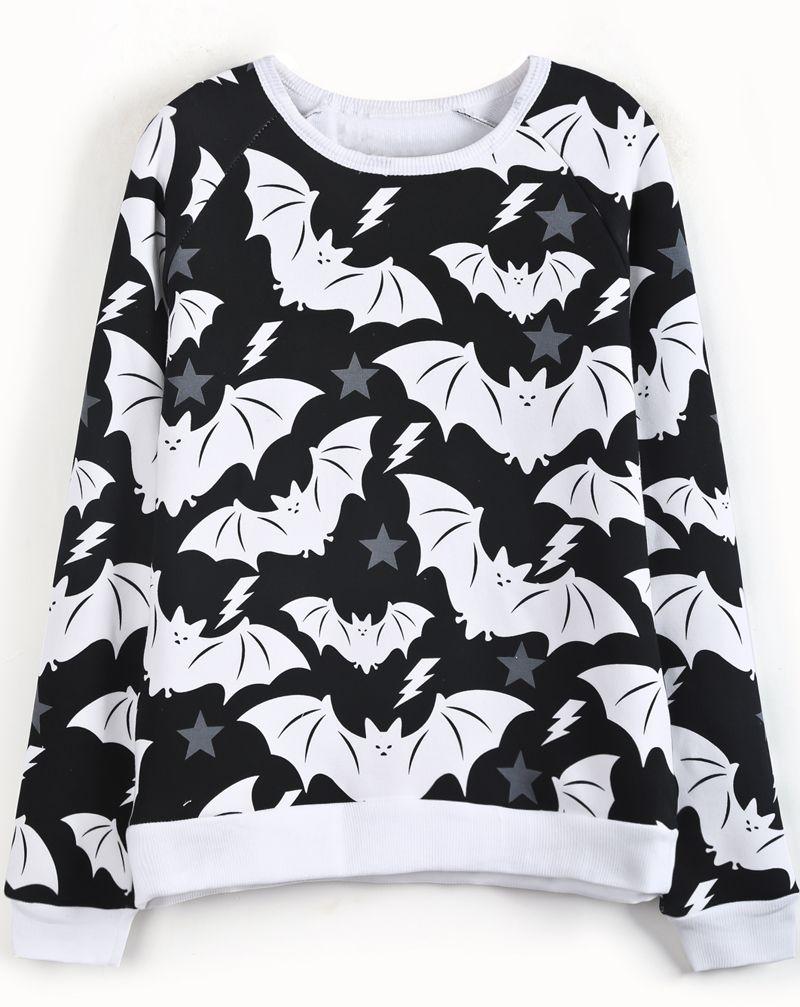 black white long sleeve bat print sweatshirt sheinside com