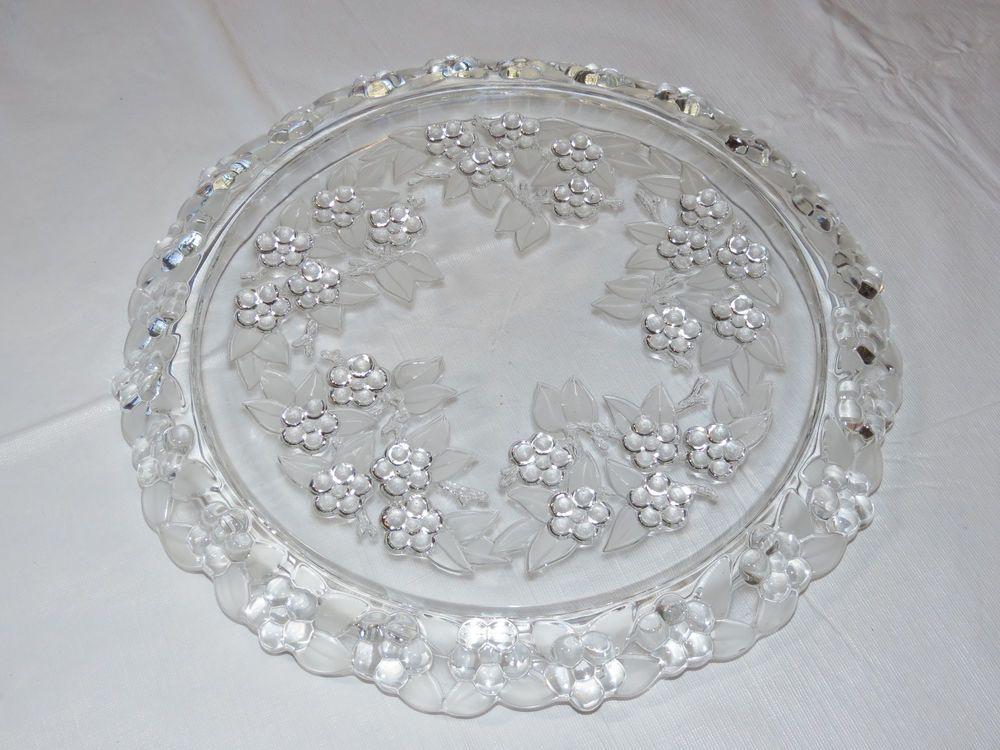 Mikasa Crystal Floral Carmen Pattern Cake Plate platter 13\