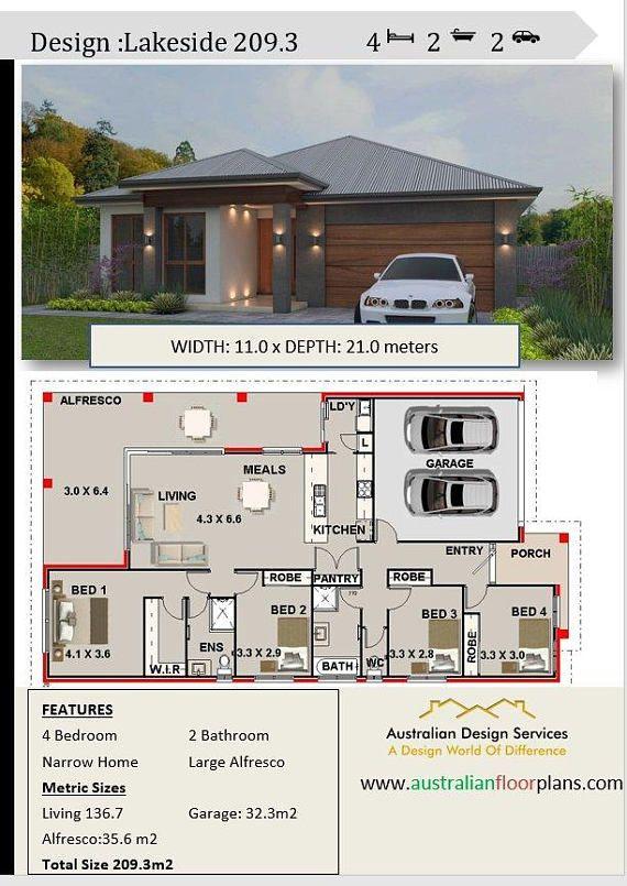 259 m2  4 Bedroom house plans  4 Bedroom floor plans  4