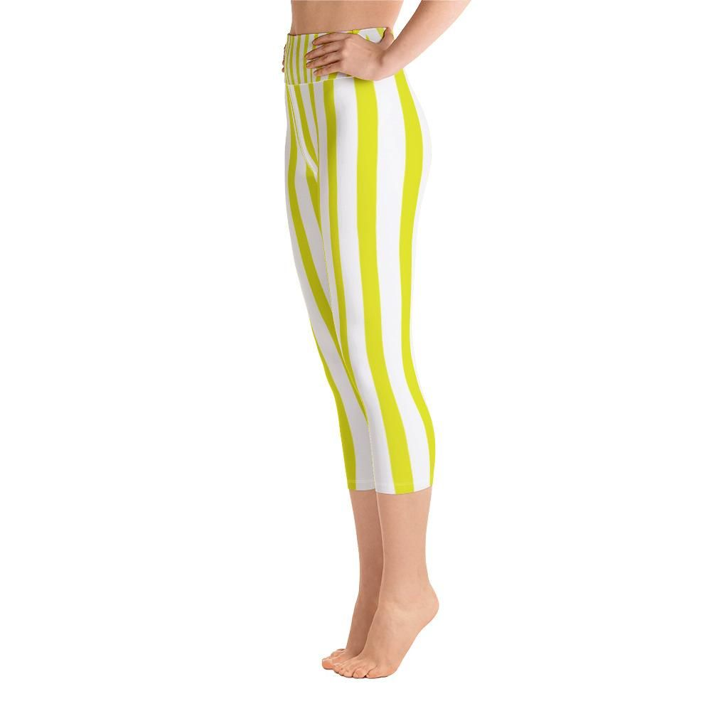 a1a048e5ae3 Erika yellow vertical striped womens cotton yoga capri pants leggings with  pockets plus size available jpg