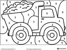 Color By Number Truck Preschool At Home Preschool Preschool