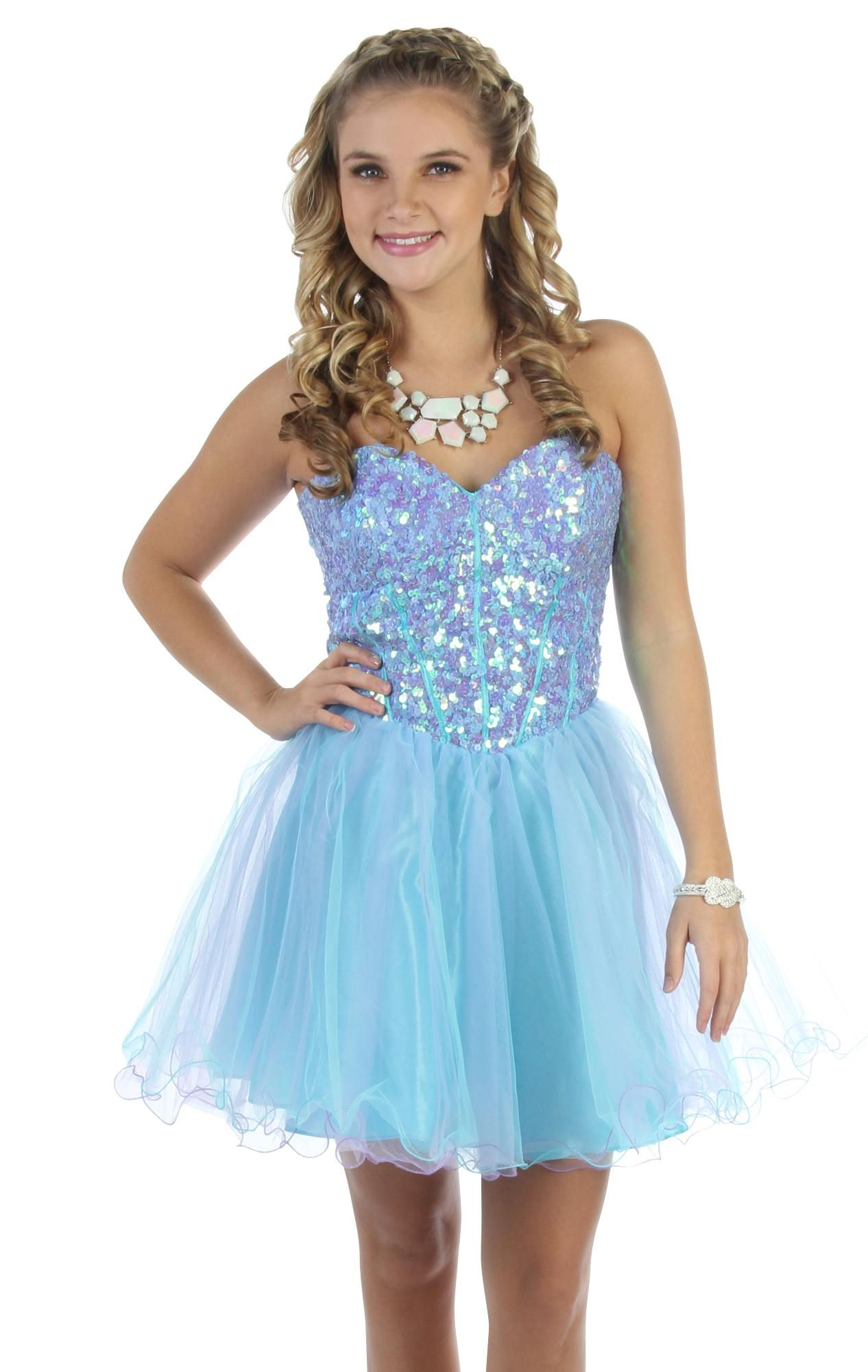 Deb Shops strapless two tone sequin corset party dress with ruffled ...