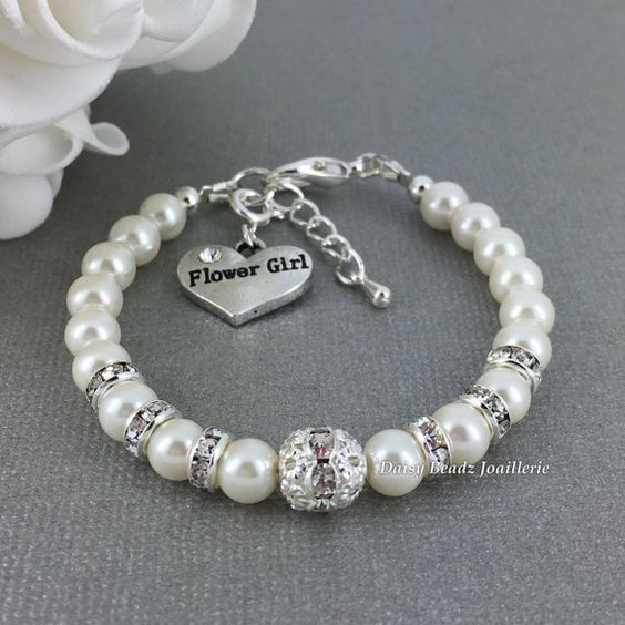 Pearl and Rhinestones Flower Girl Bracelet, Flower Girl Jewelry, Flower Girl Gift, Little Girl Bracelet, Gift for Flower Girl, Wedding Party #pearljewelry