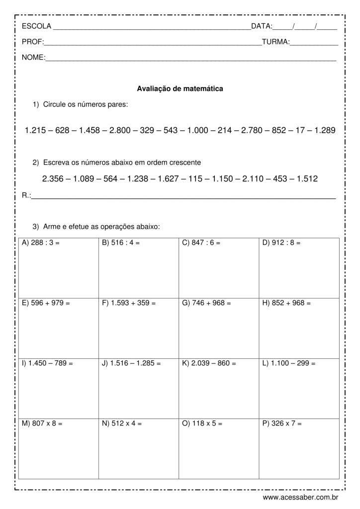 Avaliacao De Matematica Arme As Continhas Avaliacao De