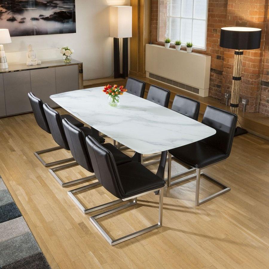 Modern White Glass Marble Effect Dining Table 8 Sleek Black