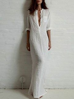 Street Style Solid Deep V-neck Maxi Dress