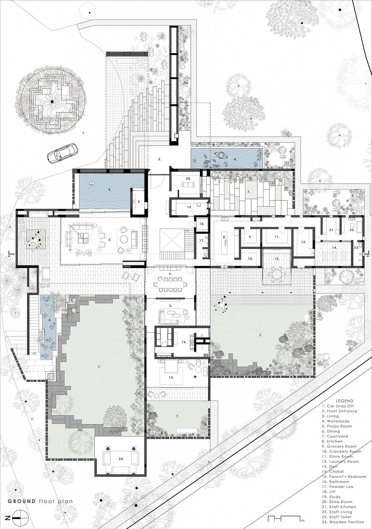 Cross Shaped Modern Home In Peaceful Landscaped Gardens Plans