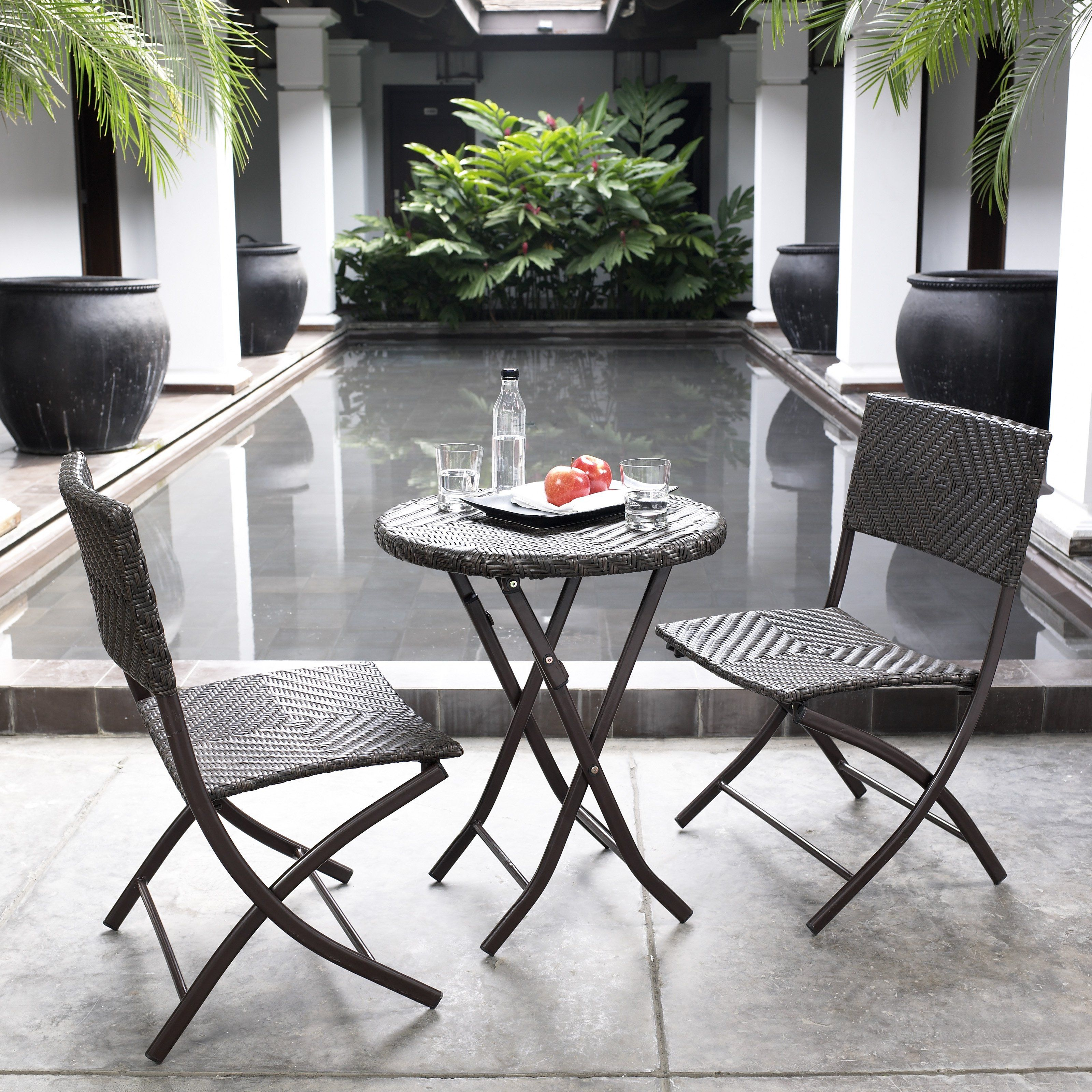 Have to have it. Belham Living All-Weather Wicker Patio Bistro Set - $199.99 @hayneedle.com