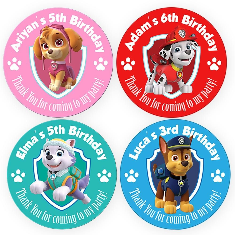 Set of Personalised Birthday Party Gift bag Stickers Paw Patrol Skye Chase Everest Marshall - personalized tags and labels