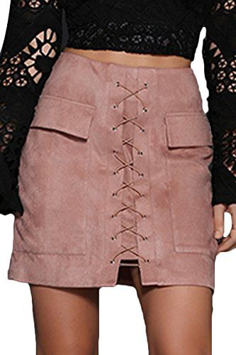 ce05faa40 Prograce Women Stylish Lace Up Faux Suede Bodycon Tight Winter Mini Skirt  Pink S Prograce Women's Vintage Lace Up High Waist Bodycon Faux Suede Mini  Skirt ...