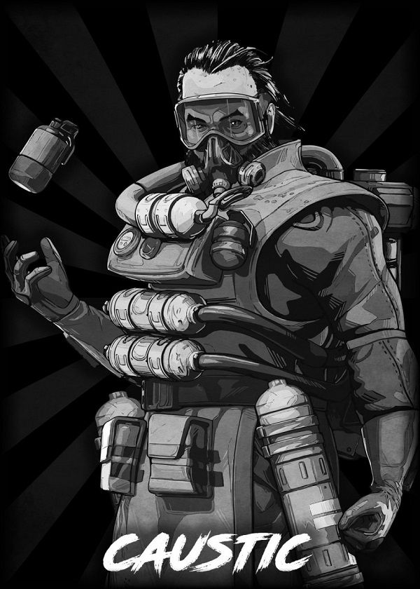 "Apex Legends B&W Radial Characters Caustic #Displate explore Pinterest""> #Displate artwork by artist ""Durro… 