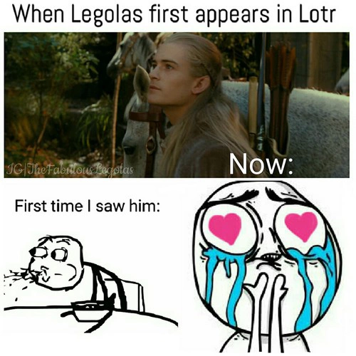OH MY GOODNESS OH MY GOODNESS THIS IS SO TRUE. THE FIRST TIME I WATCHED LORD OF THE RINGS I WAS EATING ICE CREAM AND I ONLY KNEW LEGOLAS MAINLY AND I KNEW THAT I LOVED HIM AND I'VE LOVED HIS ACTOR SINCE I WAS TWO AND WHEN HE CAME ON THE SCREEN I spit the ice cream back into the bowl and screamed ....... I have no shame