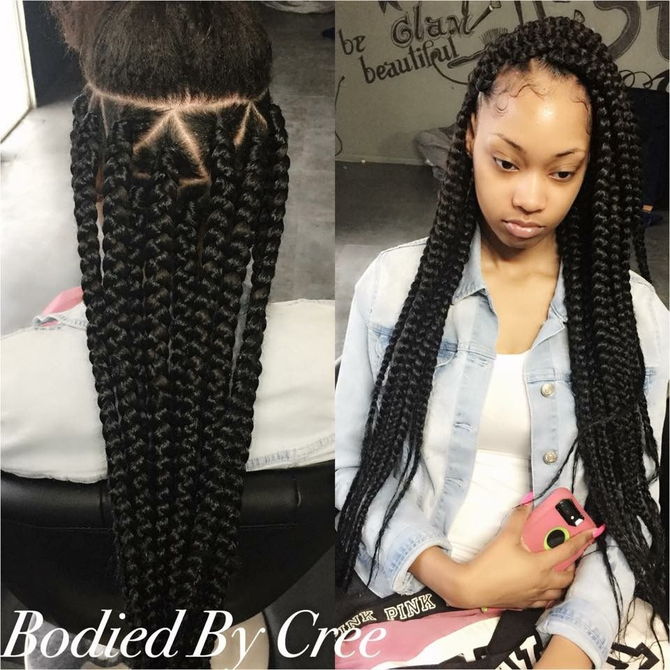 Jumbo box braids triangle parts hairstyles pinterest