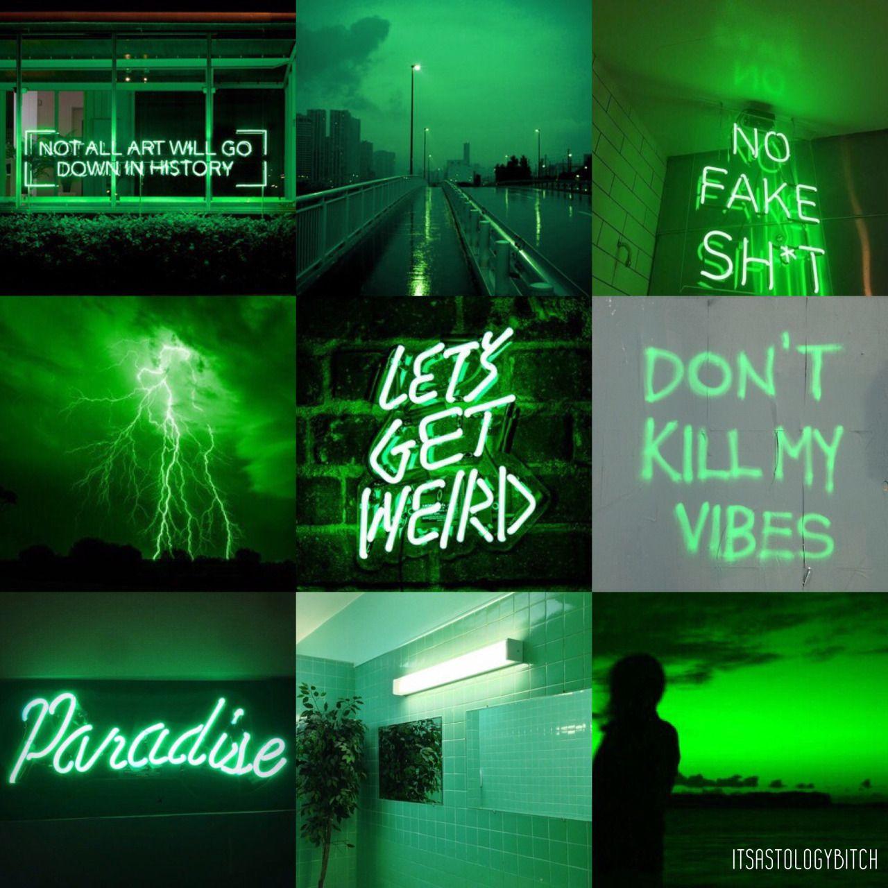 Green Neon Glow Aesthetic - Sagittarius •Sagittarius: I ...