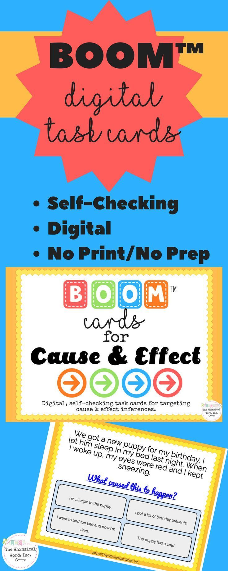 Cause effect activities boom cards no print speech