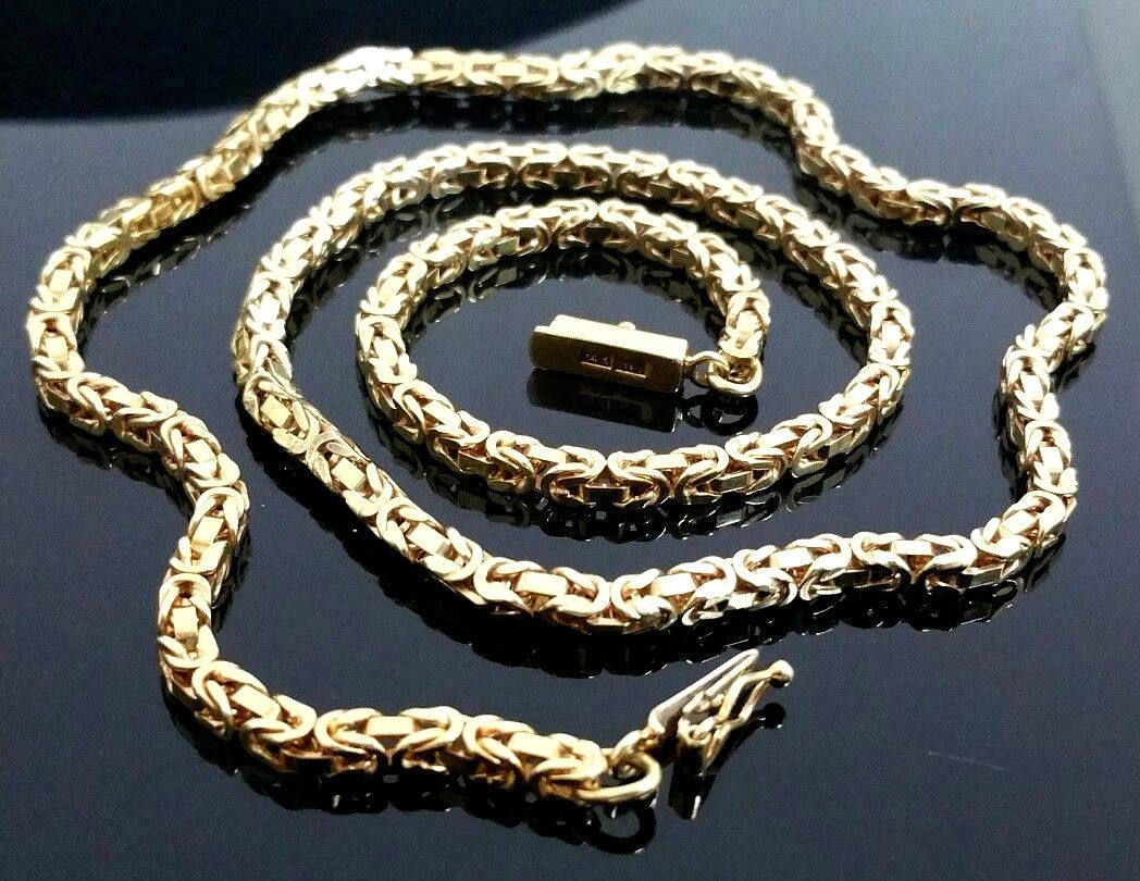 Solid 14 Karat Yellow Gold 3mm Kings Link 18 Inch Box Byzantine Chain Necklace 14 Karat Karat Yellow Gold